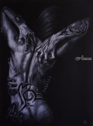 revival/ alien, Pastel, Fine Art,Photorealism,Surrealism, Erotic,Fantasy,Figurative, Pastel, By Kateryna Bortsova