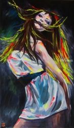 Rhythm of the night, Paintings, Fine Art,Impressionism,Pop Art, Dance,Figurative,People,Portrait, Acrylic,Canvas,Oil,Painting, By Kateryna Bortsova