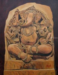 Ridhi, Sidhi and Ganesha, Paintings, Expressionism, Religious, Canvas, By Ajay Harit