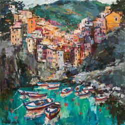 Riomaggiore, Cinque terre,<br>Italy - Landscape painting, Paintings, Impressionism, Landscape,Nature,Seascape, Canvas,Oil,Painting, By Anastasiya Valiulina