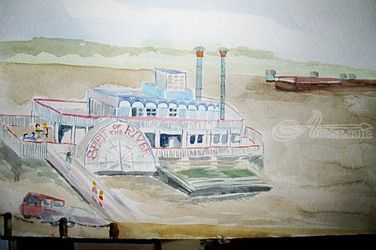 River Boat on Mississippi River, Paintings, Realism, Seascape, Watercolor, By Lora Roberts