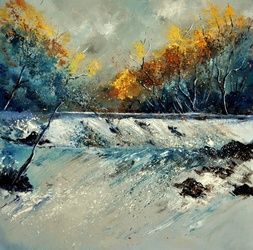 River fall 88, Paintings, Impressionism, Landscape, Oil, By Pol Ledent