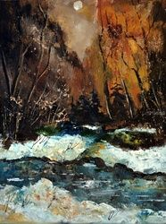 river in winter, Paintings, Expressionism, Botanical, Canvas, By Pol Ledent