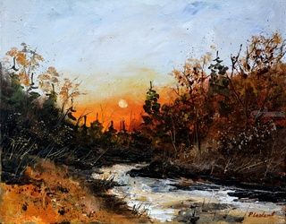 River Lesse, Architecture,Decorative Arts,Drawings / Sketch,Paintings, Expressionism, Decorative, Canvas, By Pol Ledent