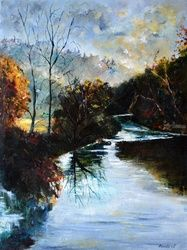 river Lesse 68, Architecture,Decorative Arts,Drawings / Sketch,Paintings, Impressionism, Botanical, Canvas, By Pol Ledent