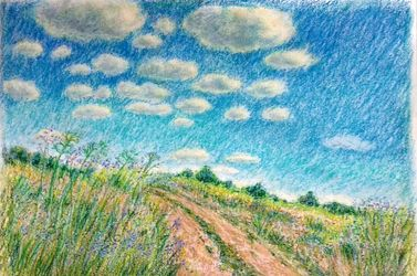 Road in the steppe, Drawings / Sketch,Paintings, Impressionism, Landscape, Oil,Pastel, By Tetyana K