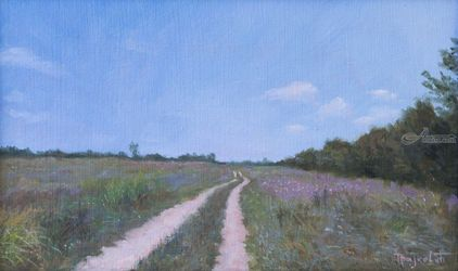 Road Through the Field, Paintings, Fine Art,Photorealism,Realism, Landscape,Nature, Oil, By Dejan Trajkovic