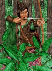 Robin Hood, Digital Art / Computer Art,Drawings / Sketch,Graphic,Illustration, Fine Art,Realism, Botanical,Fantasy,Historical,Mythical,Narrative,Nature,People,Portrait, Digital,Pencil, By Marty Jones