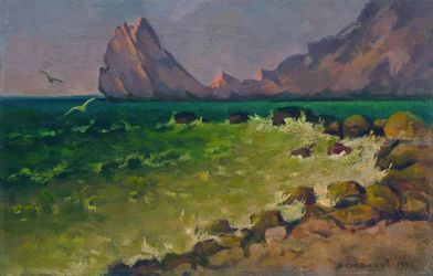 Rock in the sea, Paintings, Impressionism, Seascape, Canvas,Oil,Painting, By Vasily Belikov