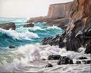 Rocky shore, Paintings, Realism, Seascape, Canvas,Oil, By Serghei Ghetiu