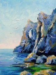 Rocky shore, Paintings, Impressionism, Botanical,Landscape,Nature, Canvas,Oil,Painting, By Olha   Darchuk