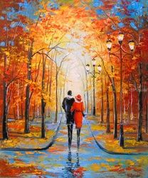 Romance in autumn Par, Paintings, Fine Art,Impressionism, Botanical,Landscape,Nature,People, Canvas,Oil,Painting, By Olha   Darchuk
