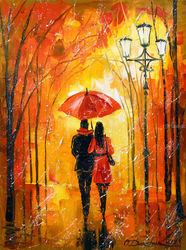 Romance in the Park, Paintings, Impressionism, Cityscape,Figurative,Landscape, Canvas,Oil,Painting, By Olha   Darchuk