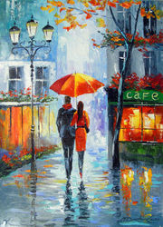 Romantic walk around the city, Paintings, Expressionism,Impressionism,Romanticism, Architecture,Cityscape,Landscape,People, Canvas,Oil,Painting, By Olha   Darchuk