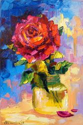Rose for you, Paintings, Fine Art,Impressionism, Botanical,Floral, Canvas,Oil,Painting, By Olha   Darchuk