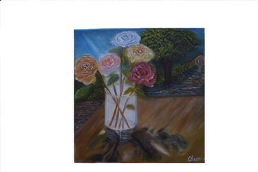 Roses, Paintings, Fine Art,Impressionism,Realism, Floral,Landscape, Canvas,Oil, By Mike Chaple