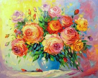 Roses, Paintings, Fine Art,Impressionism, Botanical,Floral, Canvas,Oil,Painting, By Olha   Darchuk