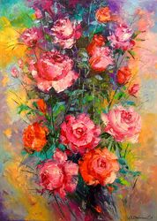 Roses, Paintings, Expressionism,Impressionism, Botanical,Floral,Wildlife, Oil, By Olha   Darchuk
