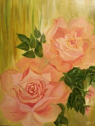 Roses, Paintings, Fine Art, Botanical, Canvas, By Lubov Pavluk