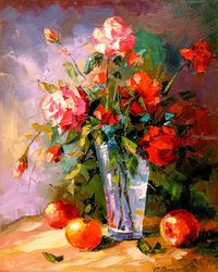 Roses and fruits, Paintings, Impressionism, Botanical,Floral,Nature,Still Life, Canvas,Oil,Painting, By Olha   Darchuk