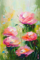 ROSES IN MY GARDEN, Paintings, Impressionism, Floral, Canvas,Oil, By Liubov Kuptsova