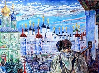 Rostov the Great, Paintings, Surrealism, Architecture,Landscape,Portrait, Acrylic,Canvas, By Victor Ovsyannikov