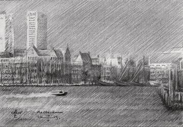 Rotterdam – 14-05-19, Drawings / Sketch, Fine Art,Impressionism,Realism, Architecture,Composition,Figurative,Inspirational,Landscape,Nature, Pencil, By Corne Akkers