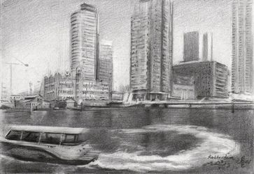 Rotterdam – 23-07-19, Drawings / Sketch, Fine Art,Impressionism,Realism, Architecture,Cityscape,Composition,Inspirational,Landscape, Pencil, By Corne Akkers