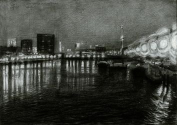 Rotterdam - Coolhaven -<br>02-03-16 (sold), Drawings / Sketch, Abstract,Impressionism,Realism,Surrealism, Architecture,Cityscape,Composition,Inspirational,Landscape,Seascape, Pencil, By Corne Akkers