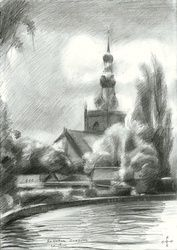 Rotterdam Overschie - 18-06-15, Drawings / Sketch, Fine Art,Impressionism,Realism,Surrealism, Cityscape,Composition,Figurative,Inspirational,Landscape,Nature, Pencil, By Corne Akkers