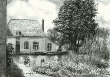 Rotterdam Overschie - 27-06-15, Drawings / Sketch, Fine Art,Impressionism,Realism, Architecture,Cityscape,Composition,Figurative,Inspirational,Landscape,Nature, Pencil, By Corne Akkers