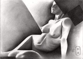 Roundism – 03-09-19, Drawings / Sketch, Cubism,Fine Art,Impressionism,Realism, Anatomy,Composition,Erotic,Figurative,Inspirational,Nudes,People, Pencil, By Corne Akkers