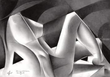 Roundism – 07-04-18, Drawings / Sketch, Abstract,Cubism,Fine Art,Realism,Surrealism, Anatomy,Composition,Erotic,Figurative,Inspirational,Nudes,People, Pencil, By Corne Akkers