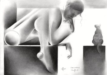 Roundism – 08-05-18, Drawings / Sketch, Abstract,Cubism,Fine Art,Impressionism,Realism,Surrealism, Anatomy,Composition,Erotic,Figurative,Inspirational,Nudes,People, Pencil, By Corne Akkers