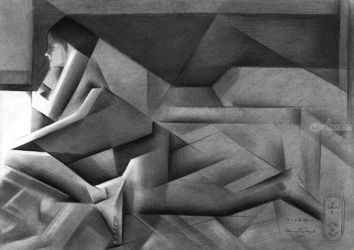 Roundism – 10-08-20, Drawings / Sketch, Cubism, Anatomy,Composition,Erotic,Inspirational,Nudes,People, Pencil, By Corne Akkers