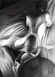 Roundism – 11-01-20, Drawings / Sketch, Cubism,Fine Art,Realism, Anatomy,Composition,Erotic,Figurative,Inspirational,Nudes,People, Pencil, By Corne Akkers