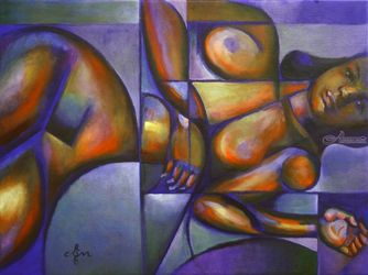 Roundism – 12-05-18, Paintings, Abstract,Cubism,Fine Art,Surrealism, Anatomy,Composition,Erotic,Figurative,Inspirational,Nudes,People, Canvas, By Corne Akkers
