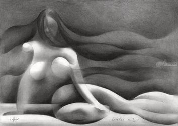 Roundism – 12-07-18, Drawings / Sketch, Cubism,Fine Art,Surrealism, Anatomy,Composition,Erotic,Figurative,Inspirational,Nudes,People, Pencil, By Corne Akkers