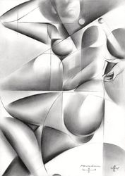 Roundism – 13-02-18, Drawings / Sketch, Abstract,Cubism,Fine Art,Surrealism, Anatomy,Composition,Erotic,Figurative,Inspirational,Nudes,People, Pencil, By Corne Akkers