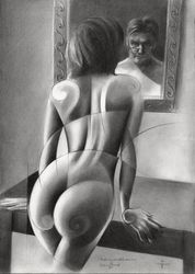 Roundism – 19-11-18, Drawings / Sketch, Cubism,Fine Art,Impressionism,Realism,Surrealism, Anatomy,Erotic,Fantasy,Figurative,Inspirational,Nudes,People, Pencil, By Corne Akkers