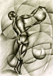 Roundism - 22-09-14, Drawings / Sketch, Abstract,Cubism,Surrealism, Anatomy,Composition,Erotic,Figurative,Inspirational,Nudes,People, Pencil, By Corne Akkers