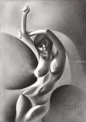 Roundism – 22-09-20, Drawings / Sketch, Cubism,Fine Art,Surrealism, Anatomy,Composition,Erotic,Figurative,Inspirational,Nudes,People, Pencil, By Corne Akkers
