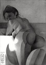 Roundism – 23-12-20 (sold), Drawings / Sketch, Cubism,Fine Art,Impressionism,Realism, Anatomy,Composition,Erotic,Figurative,Inspirational,Nudes,People, Pencil, By Corne Akkers