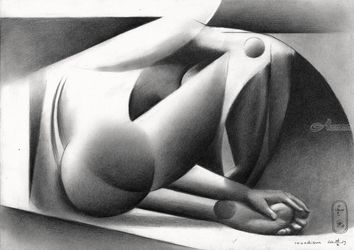 Roundism – 24-10-19, Drawings / Sketch, Cubism,Fine Art,Realism, Anatomy,Composition,Figurative,Inspirational,Nudes,People, Pencil, By Corne Akkers