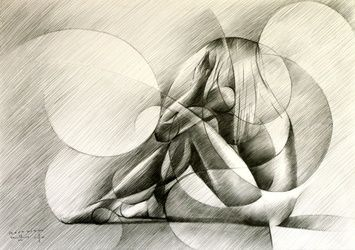 Roundism - 27-08-14, Drawings / Sketch, Abstract,Cubism,Fine Art,Impressionism,Realism,Surrealism, Anatomy,Composition,Erotic,Figurative,Inspirational,Nudes,People, Pencil, By Corne Akkers