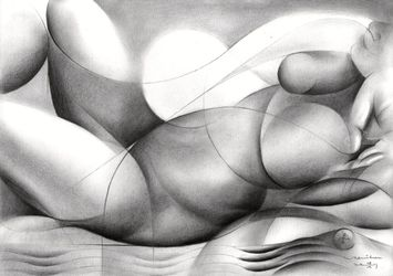 Roundism - 28-09-17, Drawings / Sketch, Abstract,Cubism,Fine Art,Surrealism, Anatomy,Composition,Erotic,Figurative,Inspirational,Nudes,People, Pencil, By Corne Akkers