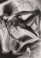 Roundism – 29-03-20, Drawings / Sketch, Cubism,Fine Art,Realism,Surrealism, Anatomy,Composition,Erotic,Fantasy,Inspirational,Nudes,People, Pencil, By Corne Akkers