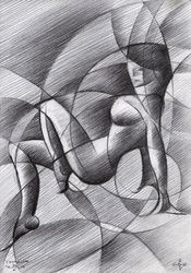 Roundism - 30-10-14, Drawings / Sketch, Abstract,Cubism,Fine Art,Impressionism,Realism,Surrealism, Anatomy,Composition,Erotic,Figurative,Inspirational,Nudes,People, Pencil, By Corne Akkers