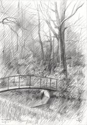 Royal estate 'De Horsten' -<br>22-04-14, Drawings / Sketch, Fine Art,Impressionism,Realism, Composition,Figurative,Inspirational,Landscape,Nature, Pencil, By Corne Akkers