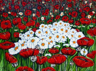 Rubies and Pearls Daisies<br>Poppies Wildflowers Flowers, Paintings, Expressionism, Floral, Acrylic, By Jackie Carpenter